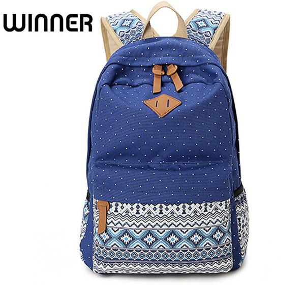Vintage School Bags for Teenagers Girls Schoolbag Large Capacity Lady Canvas Dot Printing Backpack Rucksack Bagpack Bookag Y18110107