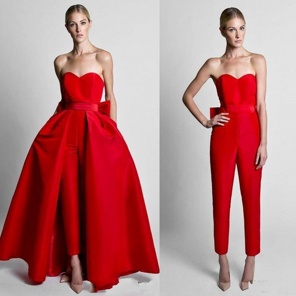 top popular 2018 Krikor Jabotian Red Jumpsuits Formal Party Dresses With Detachable Skirt Sweetheart Prom Dresses Evening Wear Pants Women Custom Made 2019
