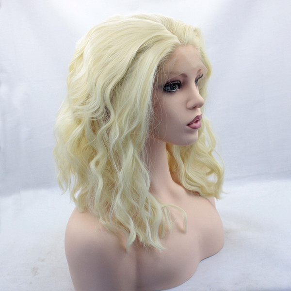 Heat Resistant Synthetic Lace Front Natural Short Wavy Loose Curly Bob 613 Blonde Wig Cosplay Party Wig