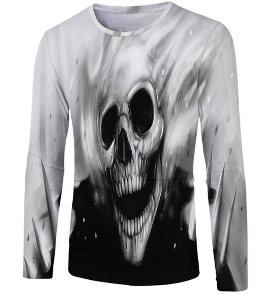 Devil skeleton printed round neck long sleeve T-shirt men pullover men's free shipping free shipping