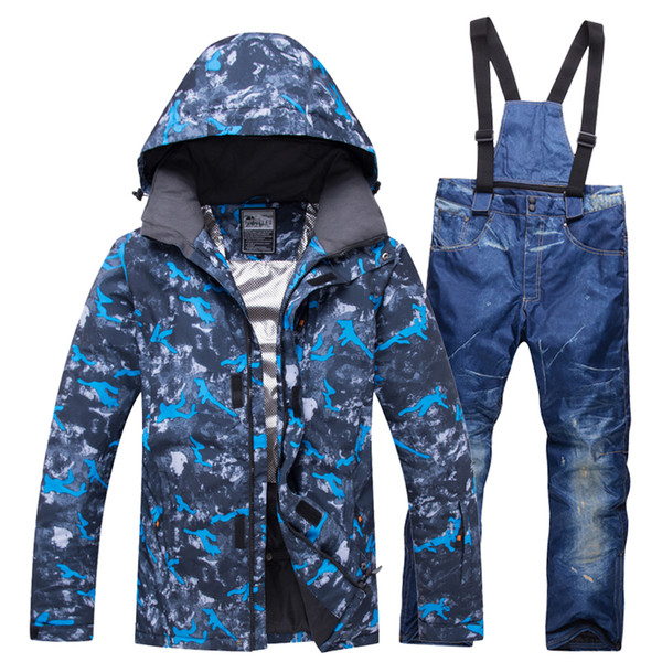 Brand Snowboard Jacket Pant Men Pure Color Ski Suit For Men's 10000mm Waterproof Breathable Skiing Snowboarding Coats Clothing