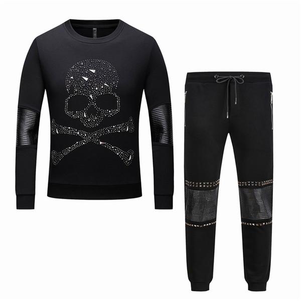 2018 осень и зима череп печати горячий Алмаз черный рукав капот с длинными рукавами свитер мужская повседневная мода набор PP