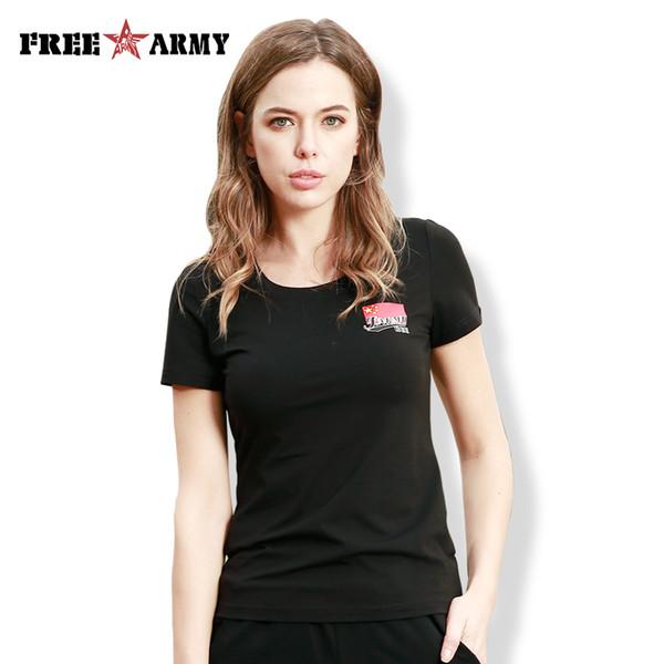 New FreeArmy  Hot Summer T-shirt Female Printing Army Fan Cotton T-shirt Camouflage Black Army Green Shirt Women