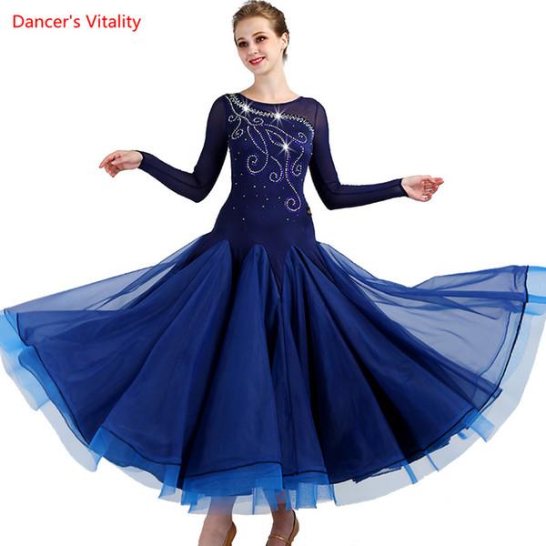 На заказ танец горный хрусталь костюм сексуальный старший бальный танец платье для женщин бальные платья Вальс платье