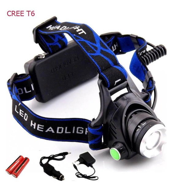Rechargeable CREE XML T6 5000Lumens Zoom Lampe frontale torche LED Lampe frontale + 18650 Batterie Phare lampe de poche lanterne pêche de nuit