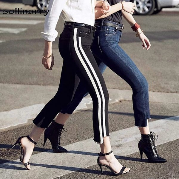 sollinarry high waist streetwear skinny jeans pant women side striped black denim pencil pants trouser ankle length capris jeans