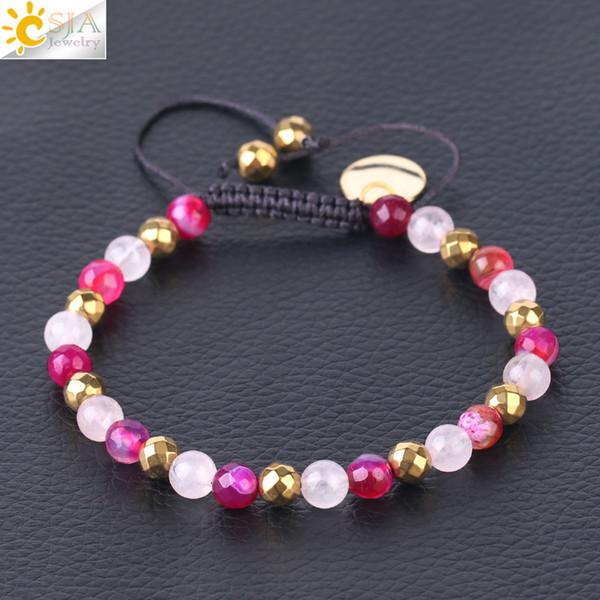 CSJA Rose Rosa Quarz Achat Schmuck Frauen Pure Gold Überzogene Charms Armband Ethnische Naturstein Perlen Armbänder Hand Geflochtene Schmuck F543