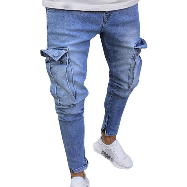 2018 Novos Homens Marca de Bolso Calça Jeans Moda Masculina Casual Slim Fit Em Linha Reta Smal-Pés Skinny Jeans Venda Quente Calças Masculinas