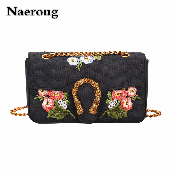 Women's 2018 New Fashion Classic Flower Embroidered Handbag Stripe Shoulder Bag Trendy Party Clutch Purse Shopping Messenger Bag