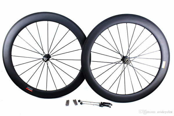 Carbon bike road wheels 60mm basalt brake surface clincher tubular road bicycle wheelset 700C width 25mm powerway novatec hub available