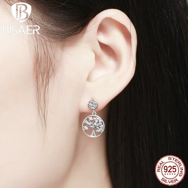 wholesale Real 925 Sterling Silver Family Tree Of Life, Clearly CZ Drop Earrings for Women Dangle Earrings Jewelry Brincos ECE067