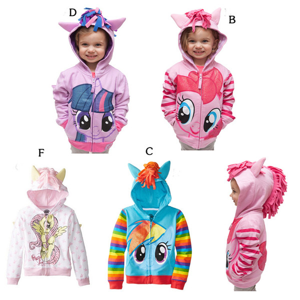 2017 NEUE Nette Baby Mädchen 3D Hippocampus Hoodie Kleinkind Langarm Mantel Kinder Regenbogen Reißverschluss Öffnen Outwear Europa und Amerika Mode