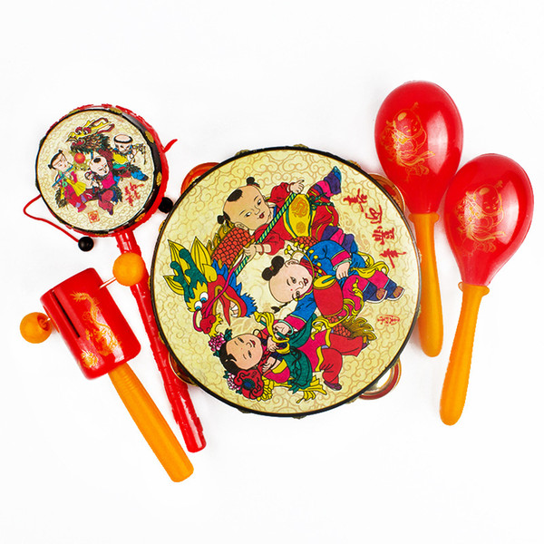 Chinese Style Children Drum Suit Set Maracas Shaped Rattle Baby Wish New Year Early Education Beneficial Wisdom Noisemaker Toys