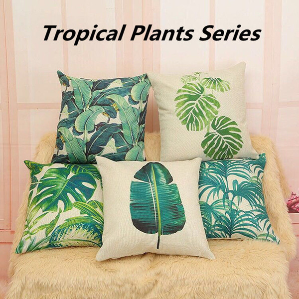 24 Styles Tropical Plantes Série Taie d'oreiller Couverture Vert Plam Arbre Feuilles Fleur Oiseaux Imprimé Lin Housse de Coussin 18