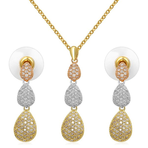6ac51a474e880 2018 Micro Pave Cubic Zirconia Crystal 3 Teardrop Connected Pendant  Necklace And Earring Jewelry Set In Rose Gold / Silver Colors From Nyk9,  $11.82 | ...