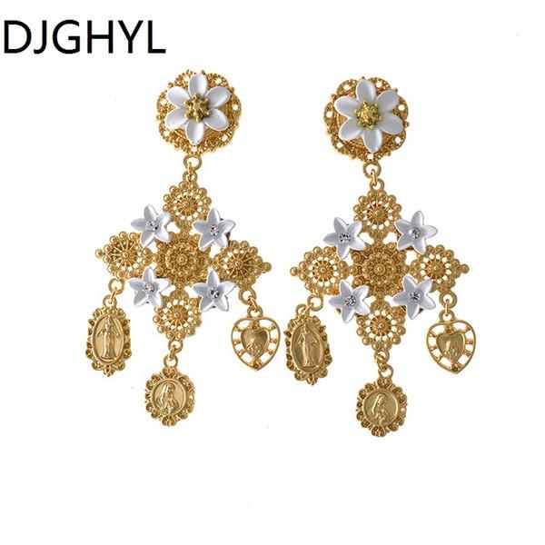 Barocco vintage di lusso con strass di cristallo grande croce orecchini per le donne gioielli di moda barocco ciondola orecchini pendenti grandi orecchini
