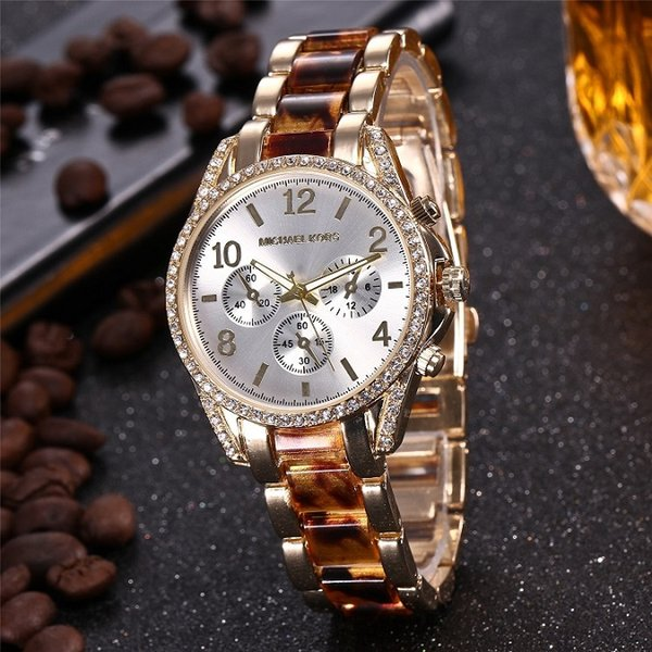 71e1586a27a4 Роскошный бренд M k набор Damenuhr Parker Edelstahl хронограф Aaa женская  мода алмазные золотые часы кварцевые