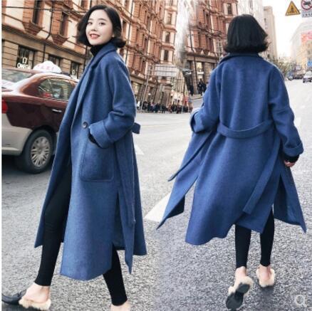 Woolen blue coat 2018 winter coat women ladies jacket new long waist belt woolen coat women winter clothing D18110702
