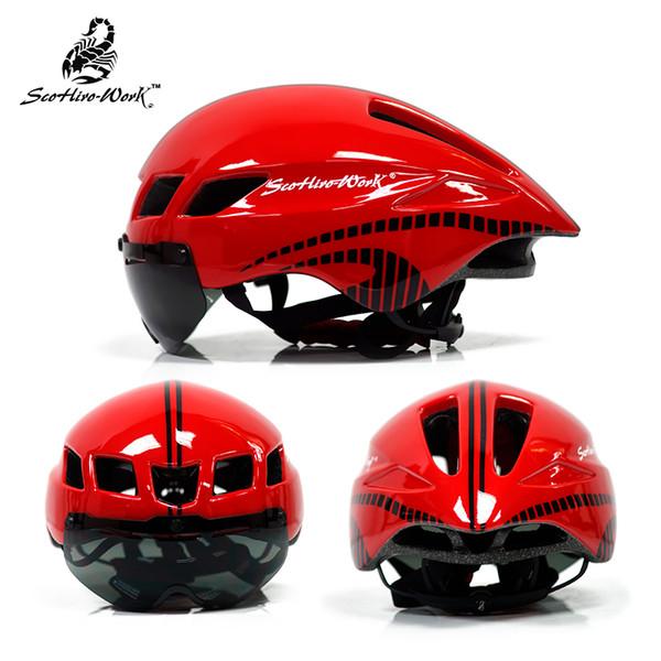 ScohiroWork Lens Helmets Road Bike Bicycle Head Protect Helmet 57-61cm Men Women Adults Cycling Helmet Goggles Helmet Glasses TK56