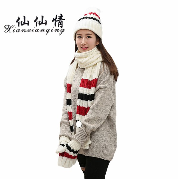 XIANXIANQING 2017 Winter Striped Women Hats Glove Scarf Suit Sweet Christmas Cap Girls Glove Scarves Caps Ladies Gloves AL219
