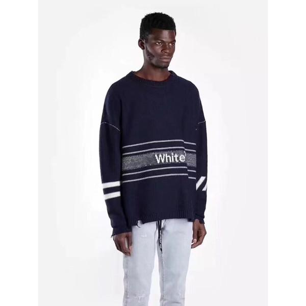 Compre 18fw De Logo Strip Sweater Mohair Suéteres De La Letra 100 ...