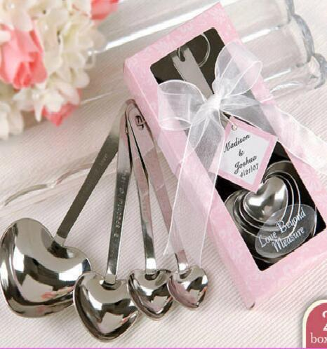 6box/Lot Heart Event Party Supplies Stainless Steel Spoon Birthday Christmas Wedding Party Favor Gift Present With Box Fg306