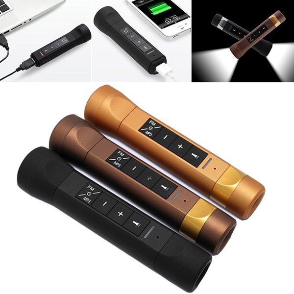 2018 Outdoor Riding Cycling Multifunction Music Torch Bluetooth Speaker Portable MP3 Flashlight FM Radio Power Bank Audio Speakers SD card