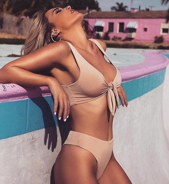 f6e6971b768fd Women Sexy High Waist Bikini Set Swimwear Women Swimsuit Push Up 2018  Womens Bikini Halter Top Bathing Suit Beachwear Biquini