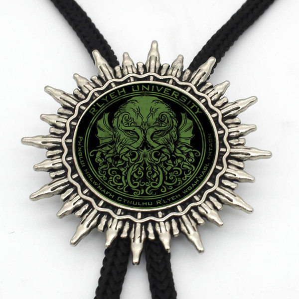 BOLO-0014 New Arrival Cthulhu R'lyeh Sigil Bolo Tie Steampunk inspired by H.P. Lovecraft Necklace Glass Dome Neck Tie Jewelry