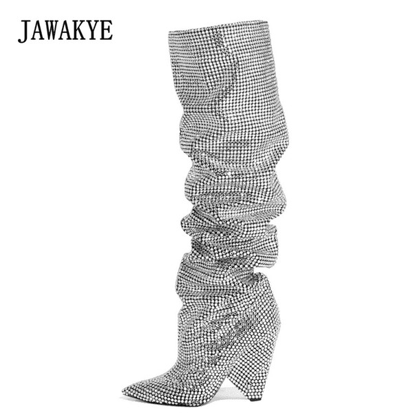 New Silver Crystal Knee high Boots Women Pointed Toe Full Rhinestones shinny Wedding Shoes Sequined Thigh High Boots JAWAKYE