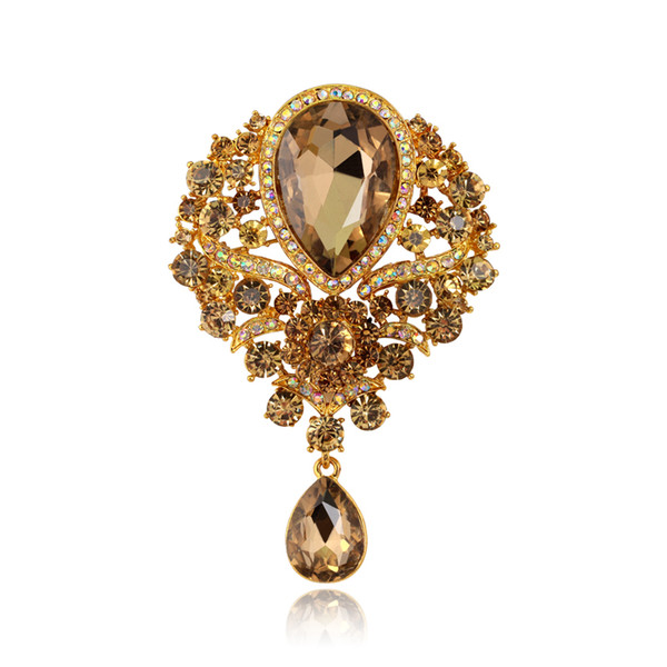 3.4inch Large Big Cute Female Crystal Rhinestone Brooch Wedding Bouquet Fashion Jewelry Brand Brooch Pins For Women Christmas Gift