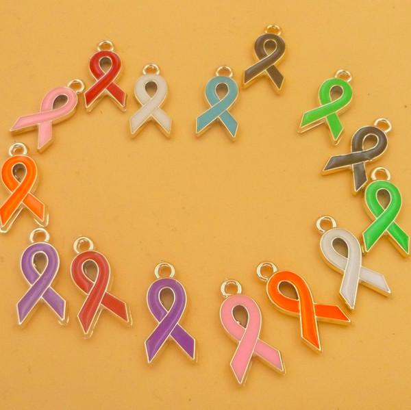 Mix renkler Emaye meme kanseri bilinçlendirme charms karışık lot, moda reçine şerit bilezik kolye diy takı yapımı aksesuarları bulgular