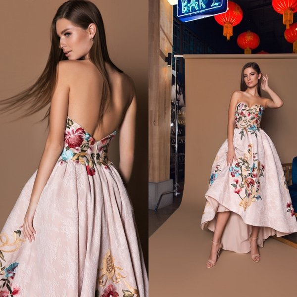 2018 Blush Pink Embroidery Prom Dresses High Low Flower Lace Appliqued Backless Arabic Evening Gowns Sweetheart Plus Size Formal Party Dress