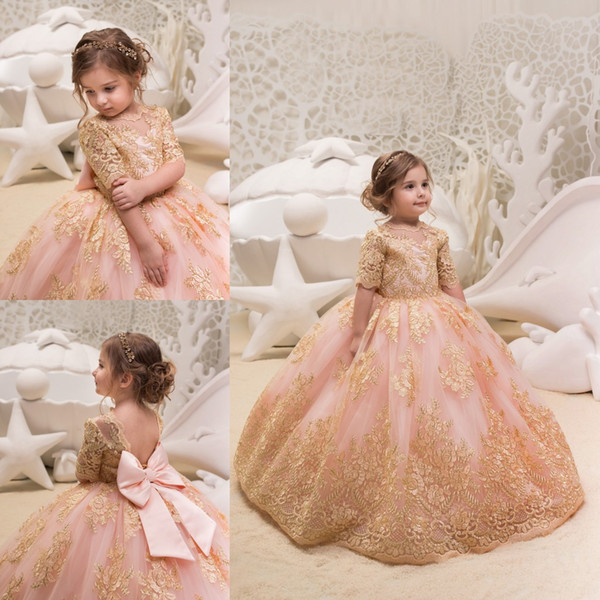 Blush Pink Ball Gown 2018 Flower Girls Dresses For Weddings Mezza manica in pizzo Appliqued bambini usura formale Tulle Comunione Dress