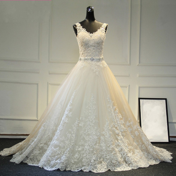 New Design A-Line Lace Wedding Dresses 2019 V-Neck Beaded Sash Backless Sexy Vintage Wedding Gowns China Online Shop