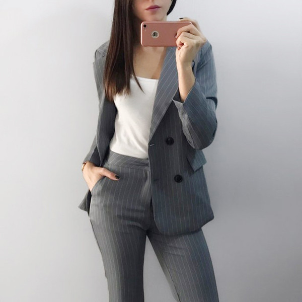 Work Fashion Pant Suits 2 Piece Sets Double Breasted Stripe Blazer Jacket & Straight Pant Office Lady Suit Women Outfits