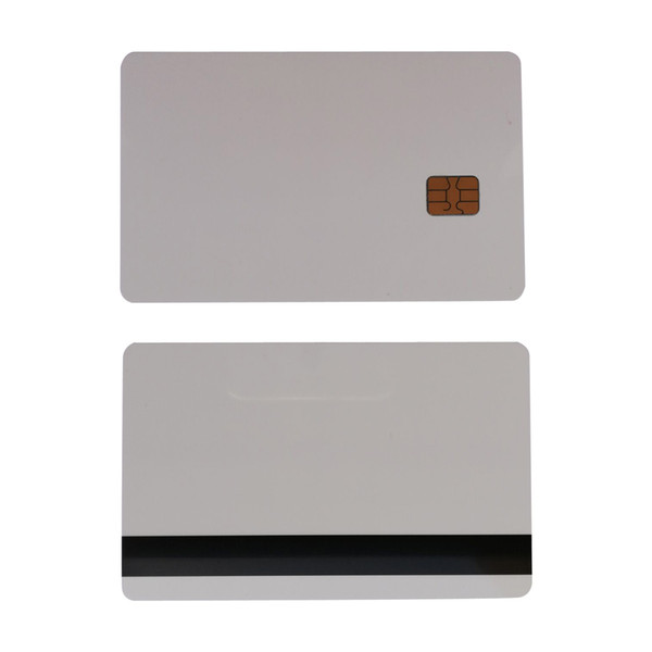 top popular 10pcs White SLE4442 contact chip pvc smart card with 8.4mm Hico magnetic stripe 2021