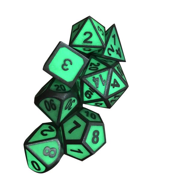 7pc Polyedrici Metal Dice Metal Glow In The Dark Set per giochi DnD DD e giochi RPG da tavolo