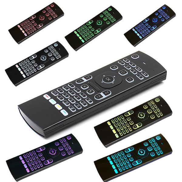 MX3 Air Mouse Hintergrundbeleuchtung Mini Wireless Tastatur Intelligente Fernbedienung 2.4G IR Lernen Fly Air Mouse Bunte Hintergrundbeleuchtung Für Android TV Box