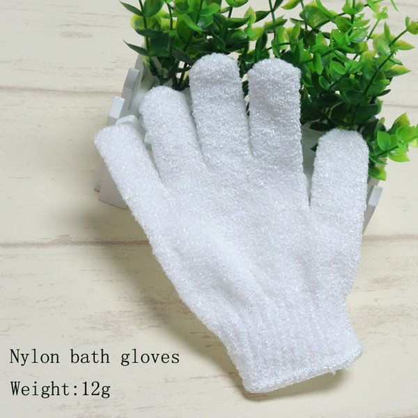 best selling 300pcs 2018 White Nylon Body Cleaning Shower Gloves Exfoliating Bath Glove Five Fingers Bath Bathroom Gloves