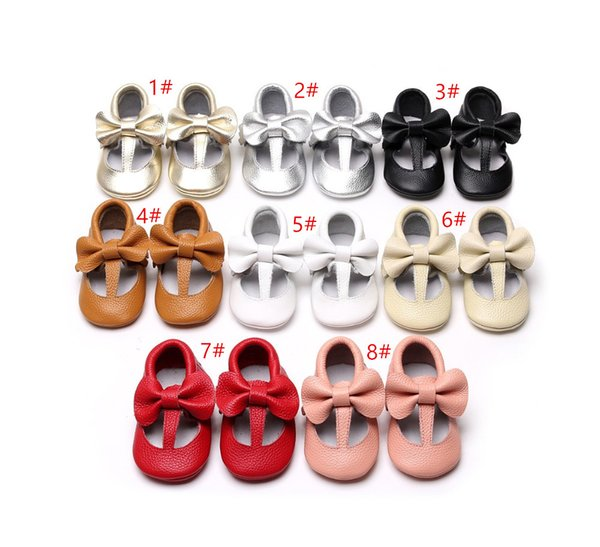 High Quality Hot sell spring T-bar style Genuine Leather Baby Girls Moccasins Shoes bow solid Baby Shoes Newborn first walker Infant Shoes