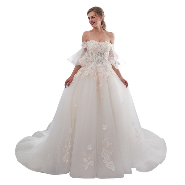 Real Image 2019 Fairy Off The Shoulder Wedding Dresses Short Sleeve Lace Up Back 3D Flora Appliques Sweep Train Church Arabic Style Bridal