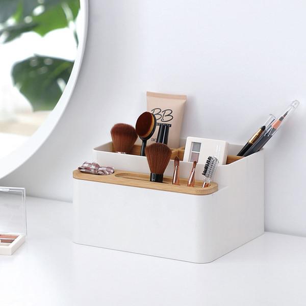 Multi-funcional Organizador Da Mesa Caixa De Armazenamento De Plástico com Compartimento de Bambu para o Escritório de Papelaria Doméstica Cosméticos Pincéis de Maquiagem