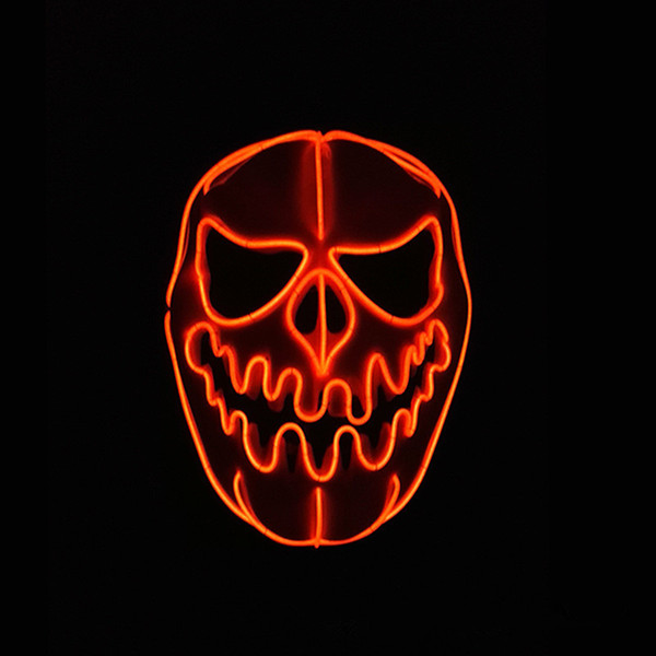 Halloween Pumpkin EL Wire Mask Flashing LED Mask Cosplay Costume Pumpkin Mask for Glowing Dance Carnival Party