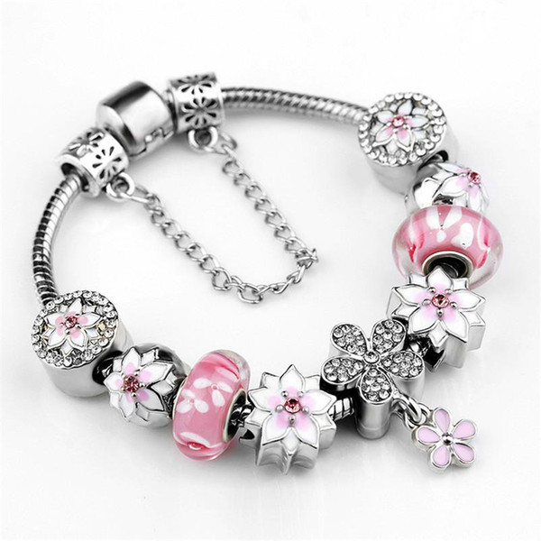 Best Sell 925 Sterling Silver Pink Murano Glass Beads Silver Fit Charm Bracelet Jewelry DIY Magnolia Flower Dangle With Crystal Pendant