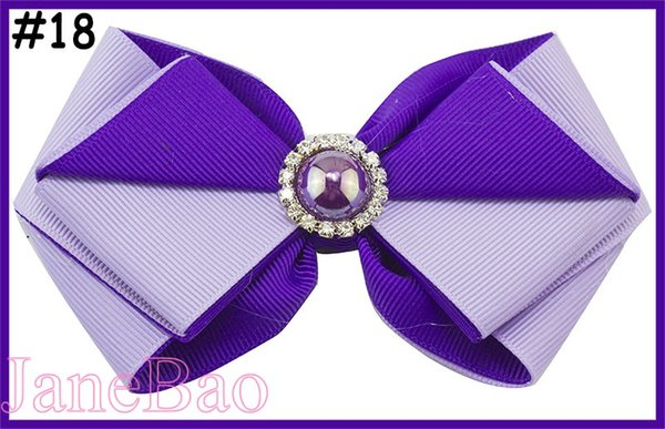 free shipping 300pcs 4.5'' layered two color boutique hair bows twist hair bows with pearl girl clip baby hair accessories
