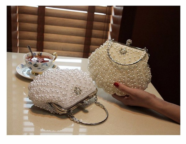 White High Quality White evening bag black Cocktail banquet bag pearl crystal beaded Clutch wedding party purse Ladies handbags x63