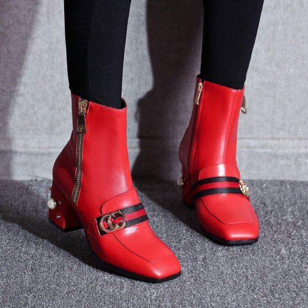 printemps automne casual femmes demi bottes avec fermeture à glissière appartements laides marque chaussures noir rouge romain bottes med talon chunky perle en cuir souple