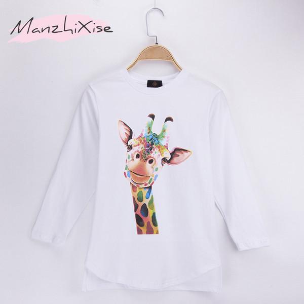 2018 Popular Children Long T-shirts Animal Giraffe Design 100% Cotton Long Sleeves Kids Boy T Shirt Baby Clothing Girls Tops Child Shirts