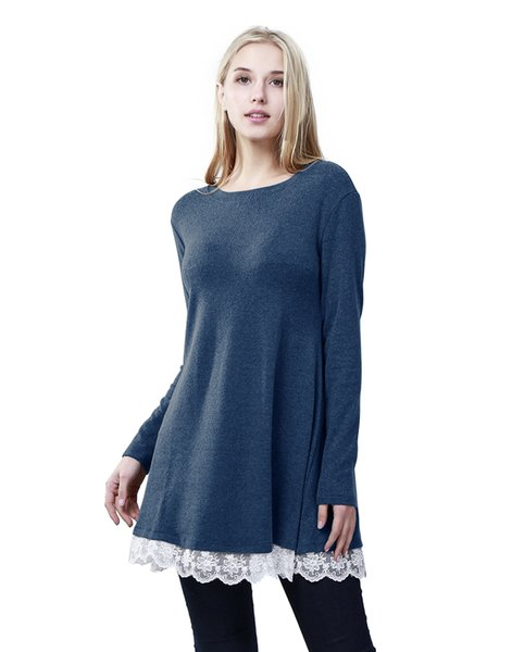 10 colors Women lace bottom loose t-shirt long sleeves cotton lace t-shirt with lace on bottom loose hem casual t-shirt dress